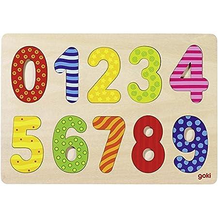 Goki - 2041620 - Puzzle en Bois À Encastrement - Chiffres 0-9 - 10 Pièces