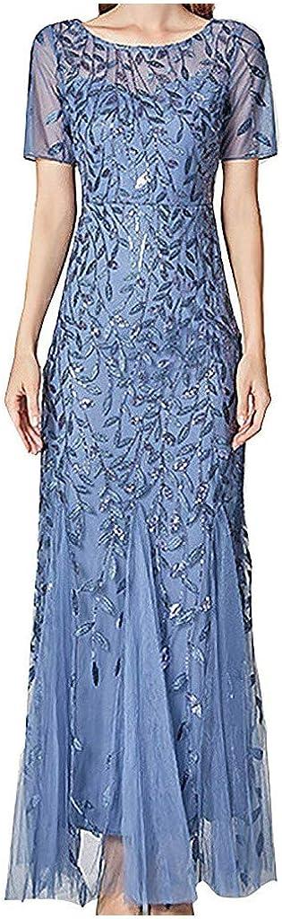 Litetao Women's Illusion Embroidery Elegant Mermaid Evening Dress Short-Sleeve Leaf Sequin Beaded Mesh