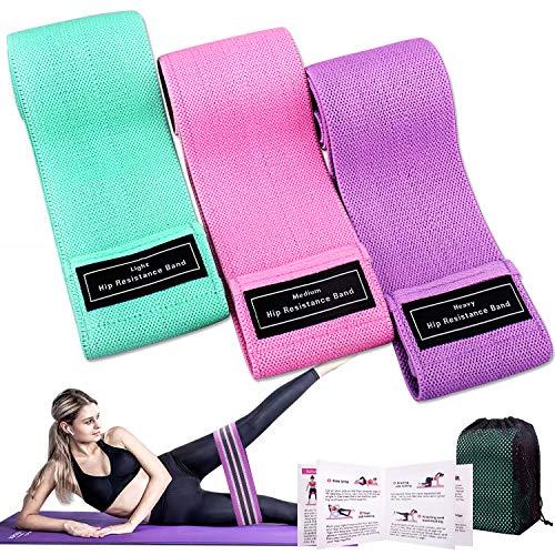 Winline Bande Elastiche di Resistenza, Set Fasce Elastiche Fitness in Tessuto con 3 Livelli di Resistenza(3 Pezzi) (Rosa/Verde/Viola)