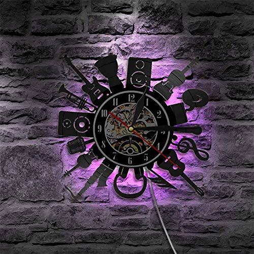 YZJYB Instrumento Musical Reloj De Pared De Vinilo con Registro con Mecanismo De Cuarzo Silencioso Luz LED Luminosa De 7 Colores Hecho A Mano