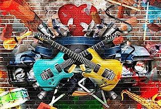 AOFOTO 7x5ft Rock Music Photography Background Grunge Graffiti Brick Wall Backdrop Punk Fashion Vocal Concert Scene Stylish Trendy Boy Girl Artistic Portrait Party Decor Photo Studio Props Wallpaper