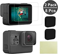 8Pcs Screen Protector for GoPro Hero 5/6 / 7(Black) - Ultra Clear Tempered Glass Protector for GoPro LCD Screen | Front Display | Lens Protector + Silicone Lens Cap Cover - 2 Packs (8 Pcs)