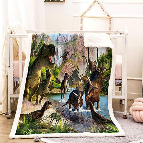 BEDSERG Tirar Las Mantas Gruesas para Adultos niños Montaña Bosque Lago Agua Animales Dinosaurio Manta Polar Super Suave Colcha Sherpa Manta para la Cama y sofá 150x200cm