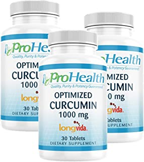 ProHealth Optimized Curcumin Longvida 3-Pack (1000 mg, 30 Tablets) (3-Bottles) 285x More Bioavailable | Joint Health | Cog...