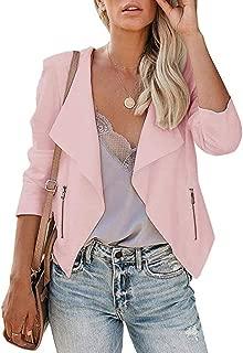 Blazer Jacket Women Office Coat Casual Long Sleeve Open Front Zipper Slim Lapel Coat