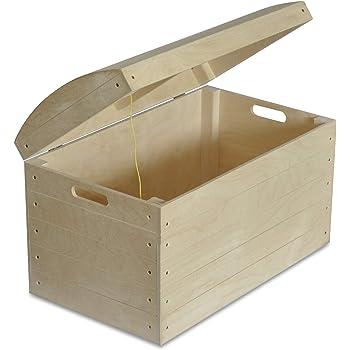 Creative Deco XXL Grande Caja de Madera para Almacenaje de Juguetes | 56,5 x 33 x 36,5 cm | Cofre Baúl Pirata con Tapa | Sin Pintar Decoupage Pintura y Decoración: Amazon.es: Hogar