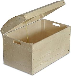 Creative Deco Grand Coffre Malle Jouet Rangement Bois | 56,5 x 33 x 36,5 cm | Boîte Pirate avec Poignées | Non Peinte | Pa...