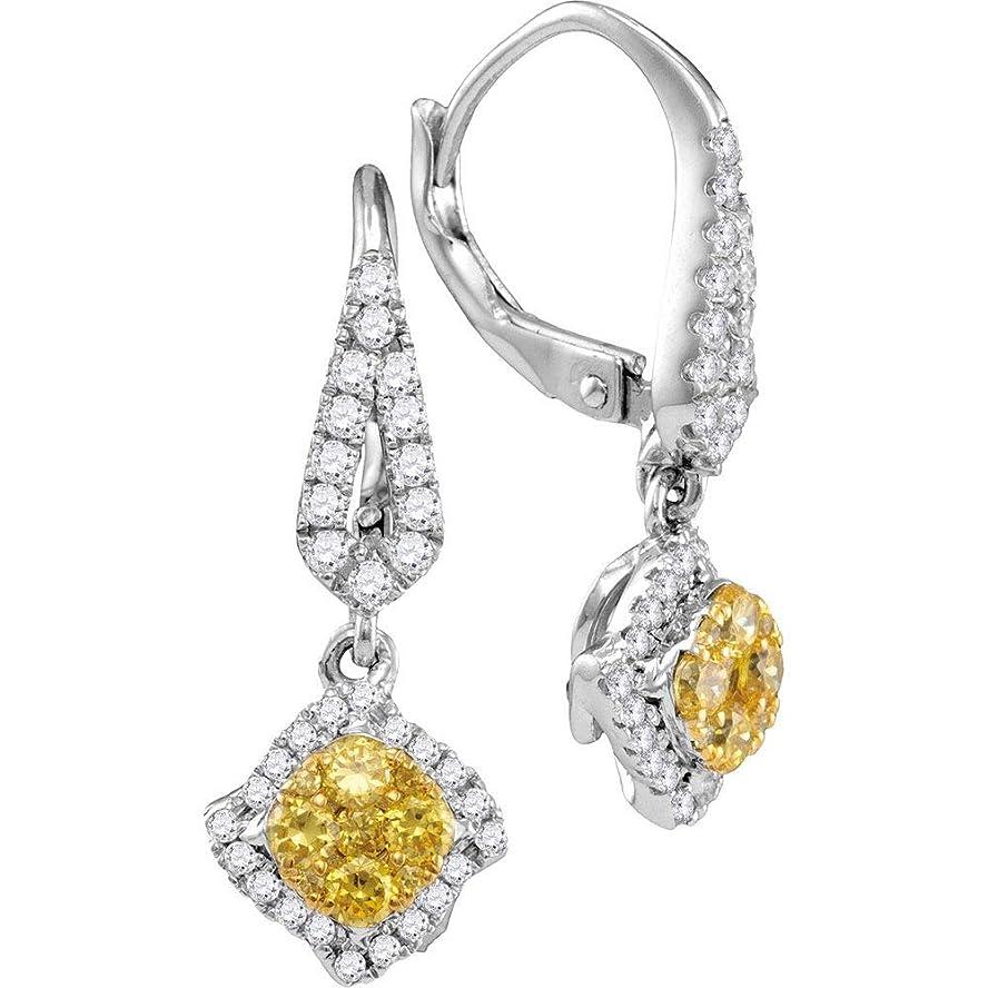 派手刺激する好きであるFB Jewels 14K ホワイトゴールド レディース ラウンド 天然 イエロー ダイヤモンド 斜めスクエア クラスタ ダングルイヤリング 3/4 Cttw