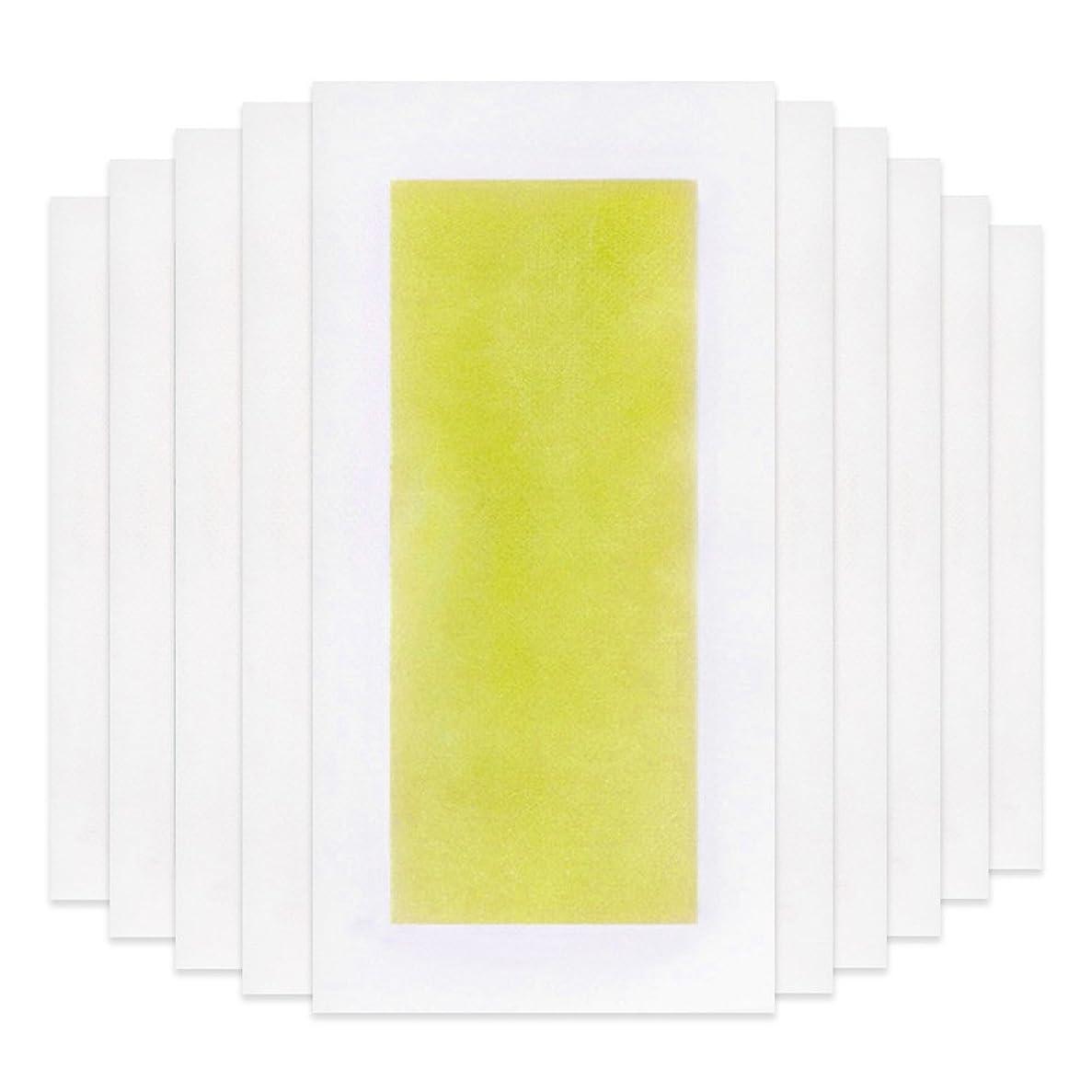 初心者湖寂しいRabugoo 脚の身体の顔のための10個のプロフェッショナルな夏の脱毛ダブルサイドコールドワックスストリップ紙 Yellow