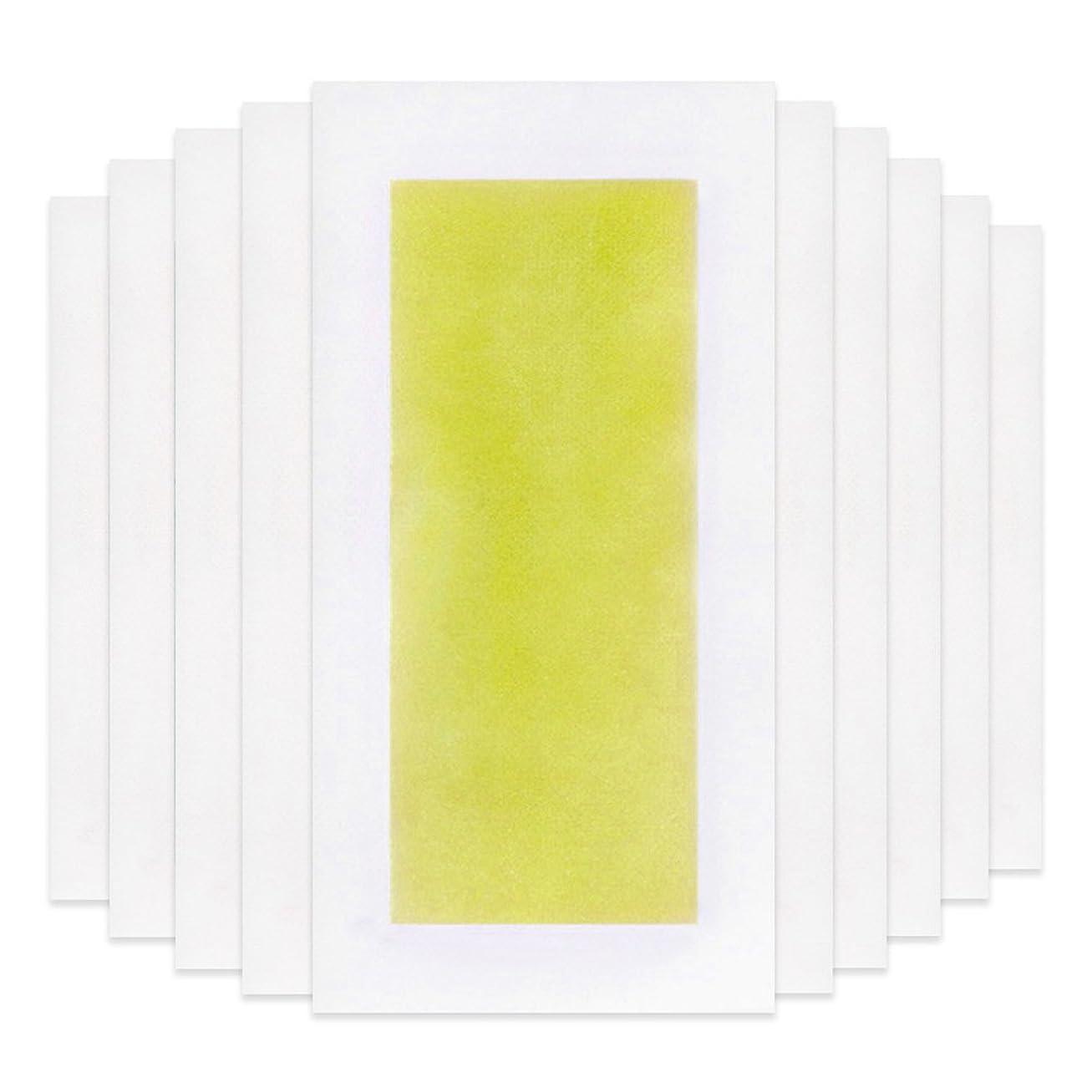 引っ張る回路お金ゴムRabugoo 脚の身体の顔のための10個のプロフェッショナルな夏の脱毛ダブルサイドコールドワックスストリップ紙 Yellow