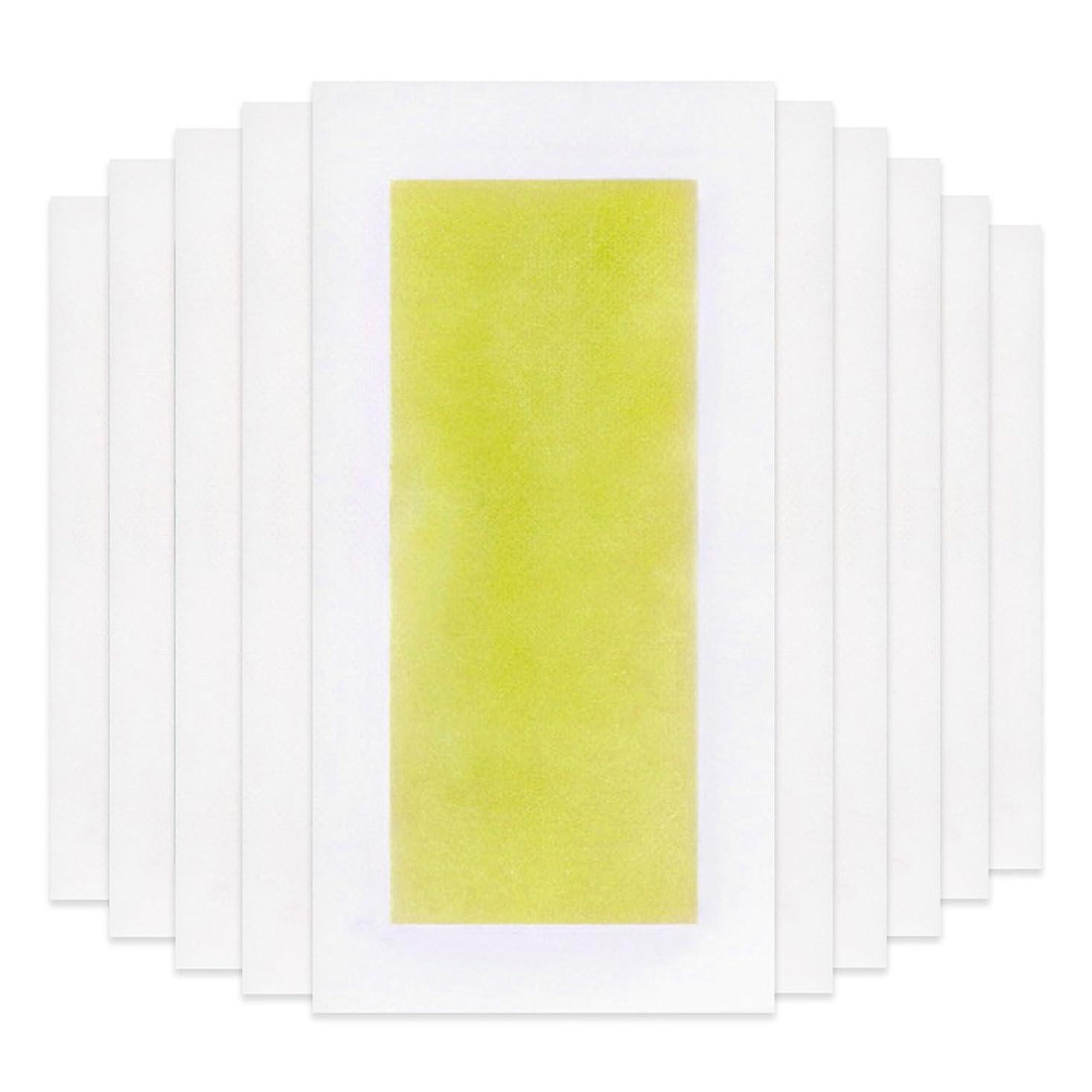 どんよりしたバルーン神Rabugoo 脚の身体の顔のための10個のプロフェッショナルな夏の脱毛ダブルサイドコールドワックスストリップ紙 Yellow