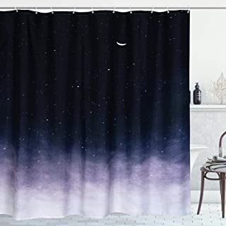 RoomTalks Starry Night Sky Fabric Shower Curtain Ombre Black and White Stars and Moon Galaxy Kids Bathroom Shower Curtain Sets Abstract Space Art Patterned Shower Panel(72''W x 72''L, Black Ombre)