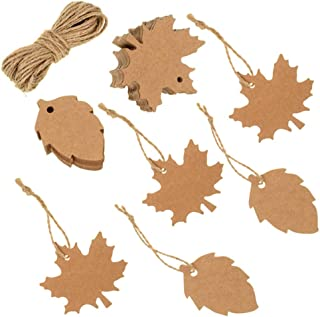 VORRTE 100Pcs Thank You Gift Tags Favor Tags Kraft Paper Tags Maple Fall Leaves Shape for Thanksgiving,Christmas Day, with Natural Jute Twine for Autumn