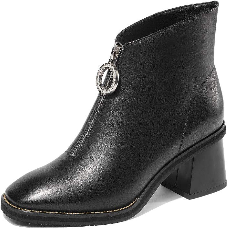 Nine Seven Genuine läder Woherrar Square Toe Chunky Mid Mid Mid Heel Zip Up Handgjort Comfort gående Dress Ankle stövlar  kampanjer