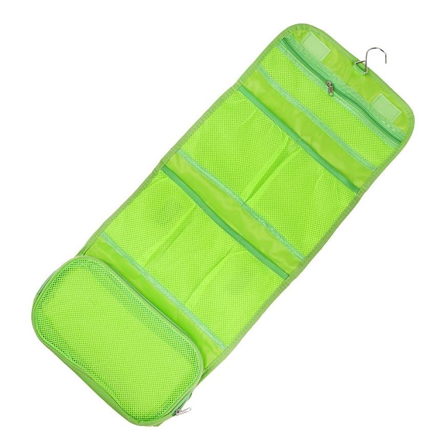 どこにでも卵証人Demiawaking キャンバス製 ウォールポケット トラベル収納バッグ 洗面用具入れ 折りたたみ 吊り下げ収納 防水 携帯便利 (グリーン)