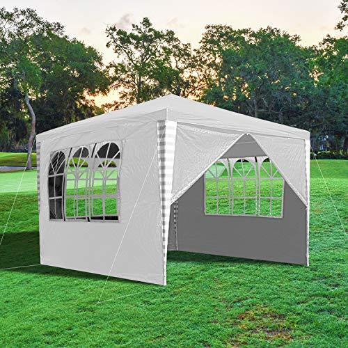 wolketon Pavillon 3x3m Wasserdicht Gartenpavillon mit 4 Seitenteilen UV-Schutz Gartenzelt Partyzelt stabil Festzelt Weiß für Garten Festival Party