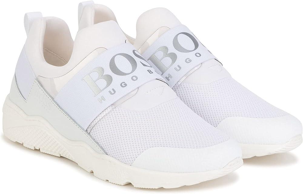 Hugo boss , scarpe sportive, sneakers per bambino/ragazzo  , in pelle e tessuto, bianco E21B