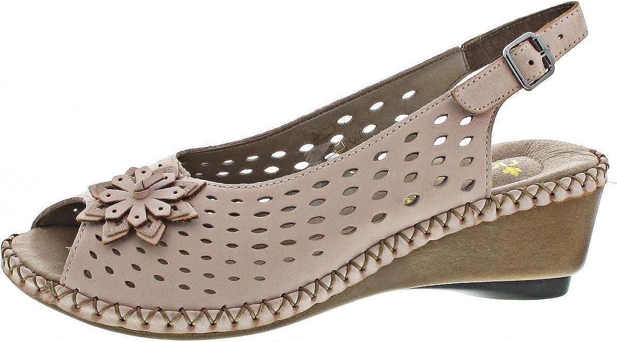 Chaussures d/ét/é fleurs boucle Rieker 66177-31 Sandales pour femme avec talon compens/é en cuir