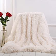 Sleepwish Solid White Blanket - Decorative Sofa, Couch and Floor Throw - Warm, Cozy, Super Soft Bed or Car Cover - Long Shaggy Hair, Faux Fur, Microfiber Polyester Material - 51 x 63 Inches
