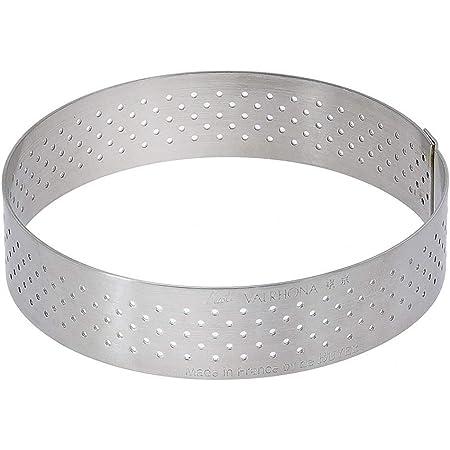 De Buyer 3099.08 Cercle à Tarte Perforé Rond Valrhona - inox - Bord Droit - ht. 2 cm - Ø 20,5 cm