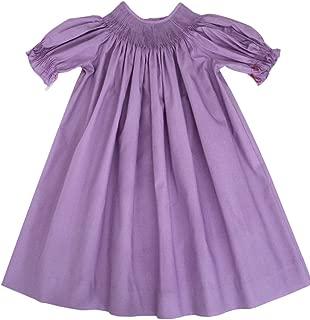 Girls Ready to Smock Lavender Purple Cotton Bishop Dress