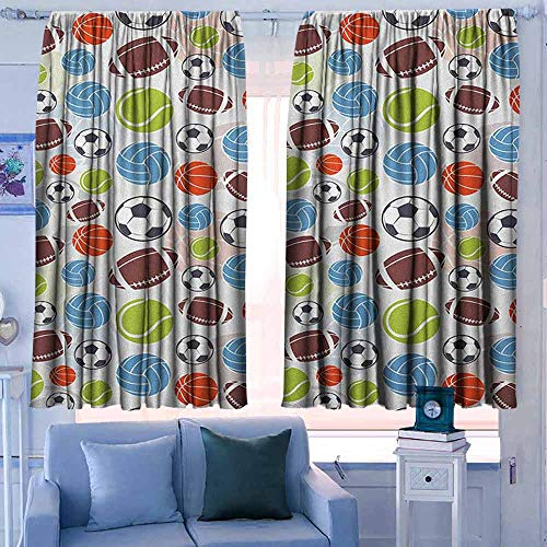 Lovii verduisteringsgordijnen voor slaapkamer verduistering en thermische isolerende Draperies Sport Monochrome Trofee Baseball handschoen Ping Pong Ball Sketch Style Bat Tournament Geïnspireerd Zwart Wit