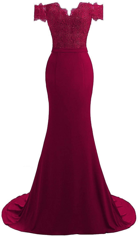 SDRESS Women's Lace Applique Off Shoulder Short Sleeve Mermaid Formal Prom Dress