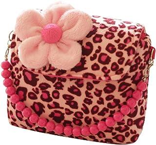 BIGBOBA Mini Borsetta in Peluche da Principessa per Bambine Portamonete con Bella Fiore e Perlina Ciondolo Compleanno Rega...