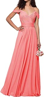 Jonlyc Pleated V-Neck Cold Shoulder Long Chiffon Bridesmaid Dresses Evening Gowns
