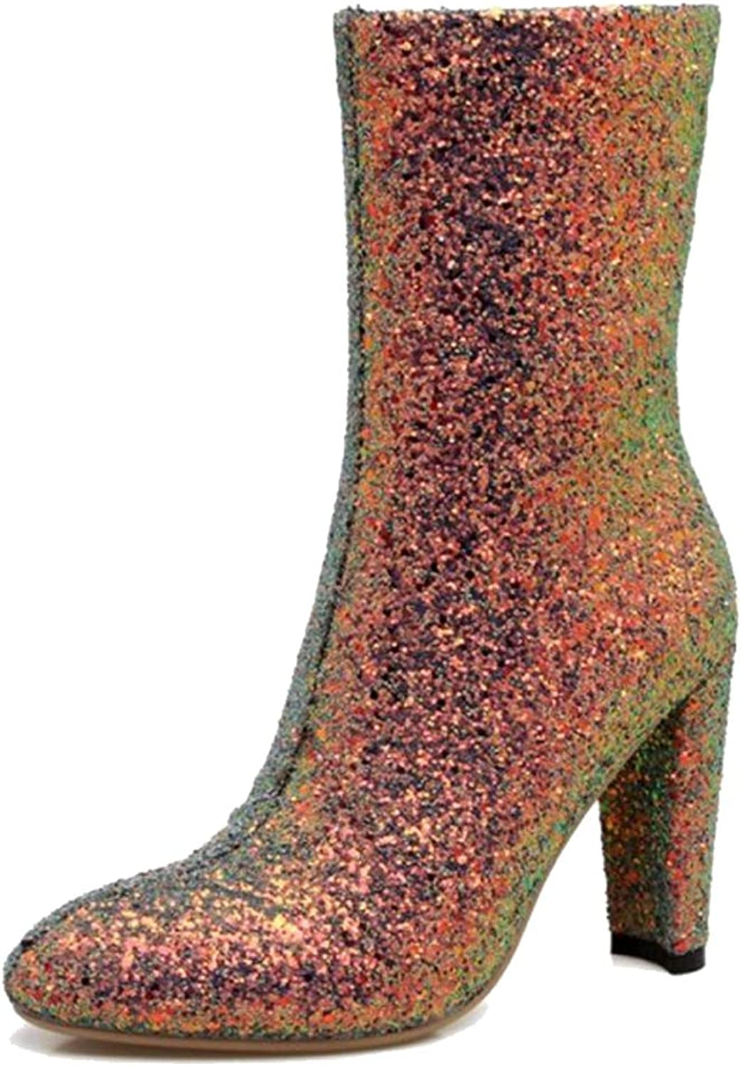 Onewus Women Bling Materail Dressy Mid-Calf Boots