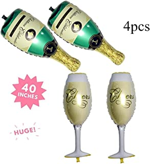 Champagne Bottle and Wine Goblet Glass Foil Balloons for Birthday Bridal Shower Bachelorette Festival Celebrations Party Supplies SG043