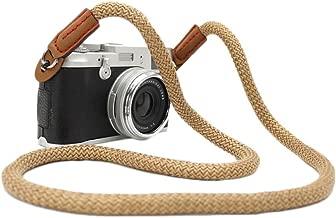 DOROM Vintage Handmade Cotton Leather Camera Neck Strap for Leica Nikon Fuji Pentax Canon Panasonic Sony Coffee Long