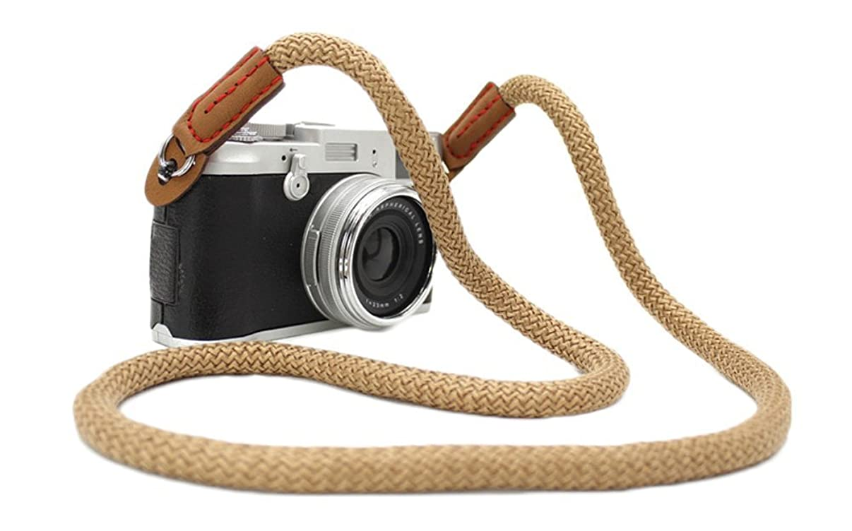 DOROM Vintage Handmade Cotton Leather Camera Neck Strap for Leica Nikon Fuji Pentax Canon Panasonic Sony Coffee Long