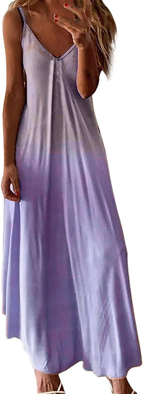 GOODTRADE8 Beach Long Dress for Women Sexy Sleeveless V Neck Maxi Dress Summer Casual Sundress S-5XL