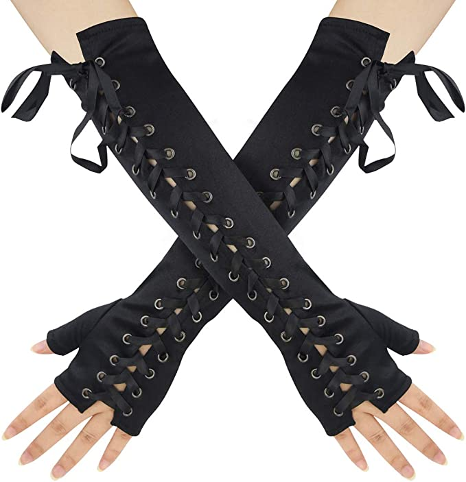 Steampunk Accessories | Goggles, Gears, Glasses, Guns, Mask Womens Fingerless Gloves Satin 1920s Elbow Punk Costume Arm Warmer for Women Ladies Girls Halloween Christmas Birthday Retro Evening Opera Party Cosplay Dress Up  AT vintagedancer.com