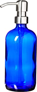 Industrial Rewind Cobalt Blue Soap Dispenser with Stainless Metal Pump - Blue 16oz Glass Lotion Bottle