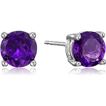 Sterling Silver African Amethyst and Created White Sapphire Halo Stud Earrings