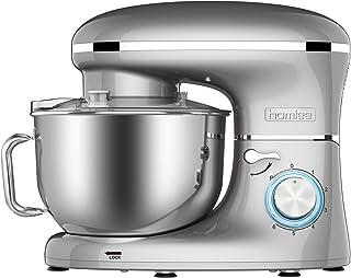 comprar comparacion Homlee 1500W Batidora Amasadora, Amasadora de Pan Bajo Ruido,Robot de Cocina Multifuncional,6 Velocidades,5.5L,Gris