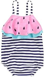 LiLiMeng Toddler Baby Gir Swimwear Watermelon Striped Swimsuit Bathing Beach Romper
