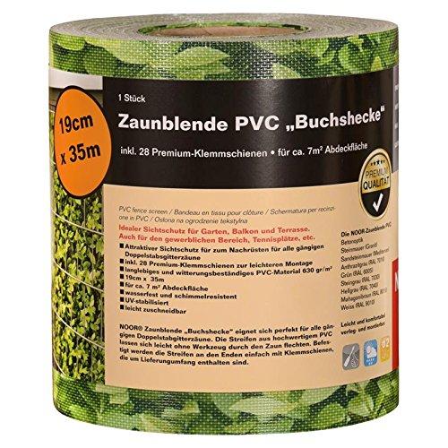 NOOR Sichtschutzstreifen Buchsbaum 19cm x 35m (630 gr/m²) I Buchsbaum-Sichtschutz für Doppelstabzäune I 28 Premium Klemmschienen Werden mitgeliefert