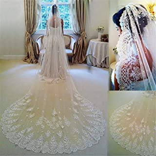 2T Bridal Veil Custom Made Bride Veil Lace Applique Edge Bridal Veils Two Layers Tulle Wedding Accessories With Free Comb ...