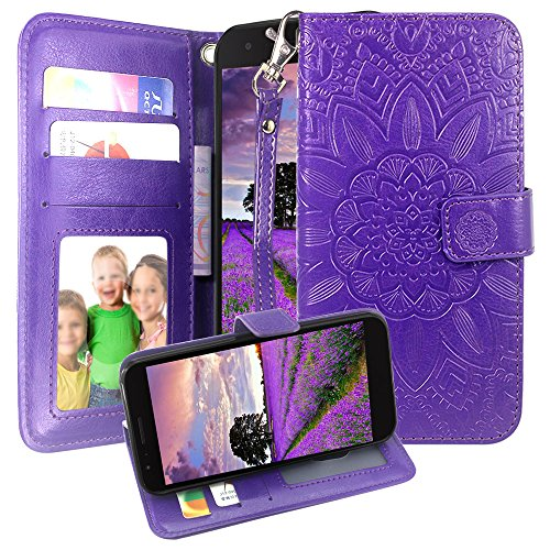 LG Aristo 2 / Aristo 2 Plus Case,Harryshell Kickstand Flip PU Wallet Leather Protective Case Cover Card Slots Wrist Strap for LG Tribute Dynasty/Fortune 2/K8 2018/REBEL 3 LTE/Zone 4 (Purple)