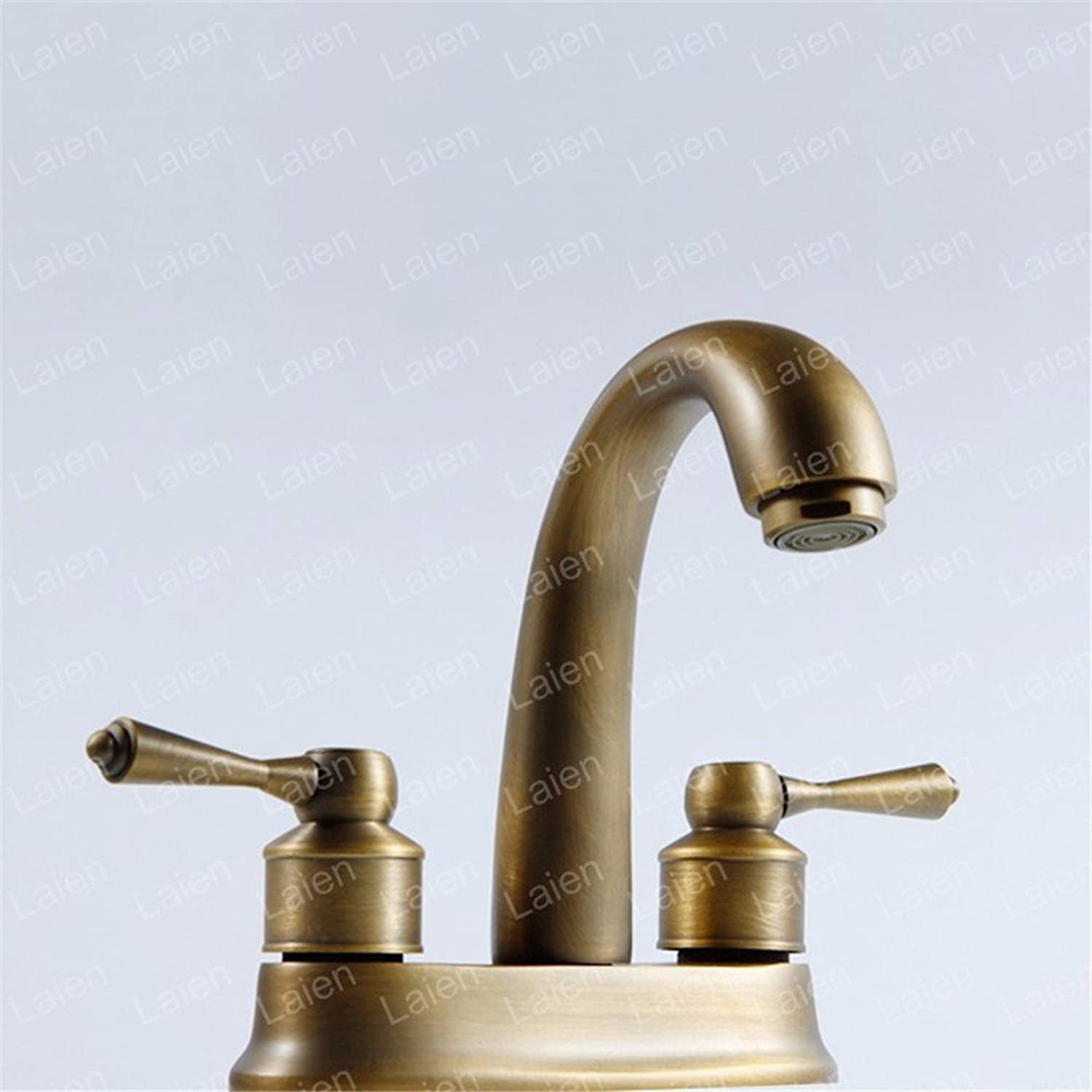 Full Copper Retro hot and Cold Ceramic Valve Two Holes Double Handle Bathroom Basin Faucet