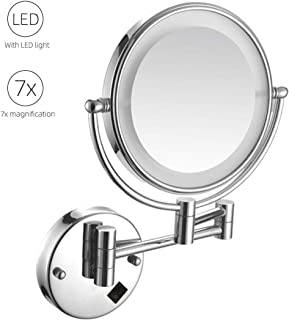 Makeup Mirror Makeup Mirror with Light, Wall Mounted 7X Magnification 360° Swivel Extendable Double-Sided Mirrors for Shaving in Bedroom or Bathroom, Round Shap