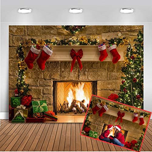 Árbol de Navidad Mehofoto Tema Chimenea Calcetines Fotografía Telón de Fondo 7x5ft Decoración de la Fiesta de...