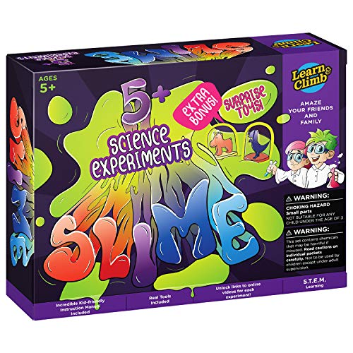 Learn and Climb Chemistry Set for Kids 5-10. 5+ Amazing Science Experiments. Make Your own Slime lab Kit. Indiana