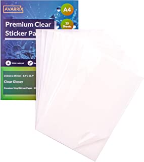 Clear Glossy Printable Vinyl Sticker Paper A4-25 Premium Transparent Self Adhesive Sheets - Waterproof Label Stickers - In...
