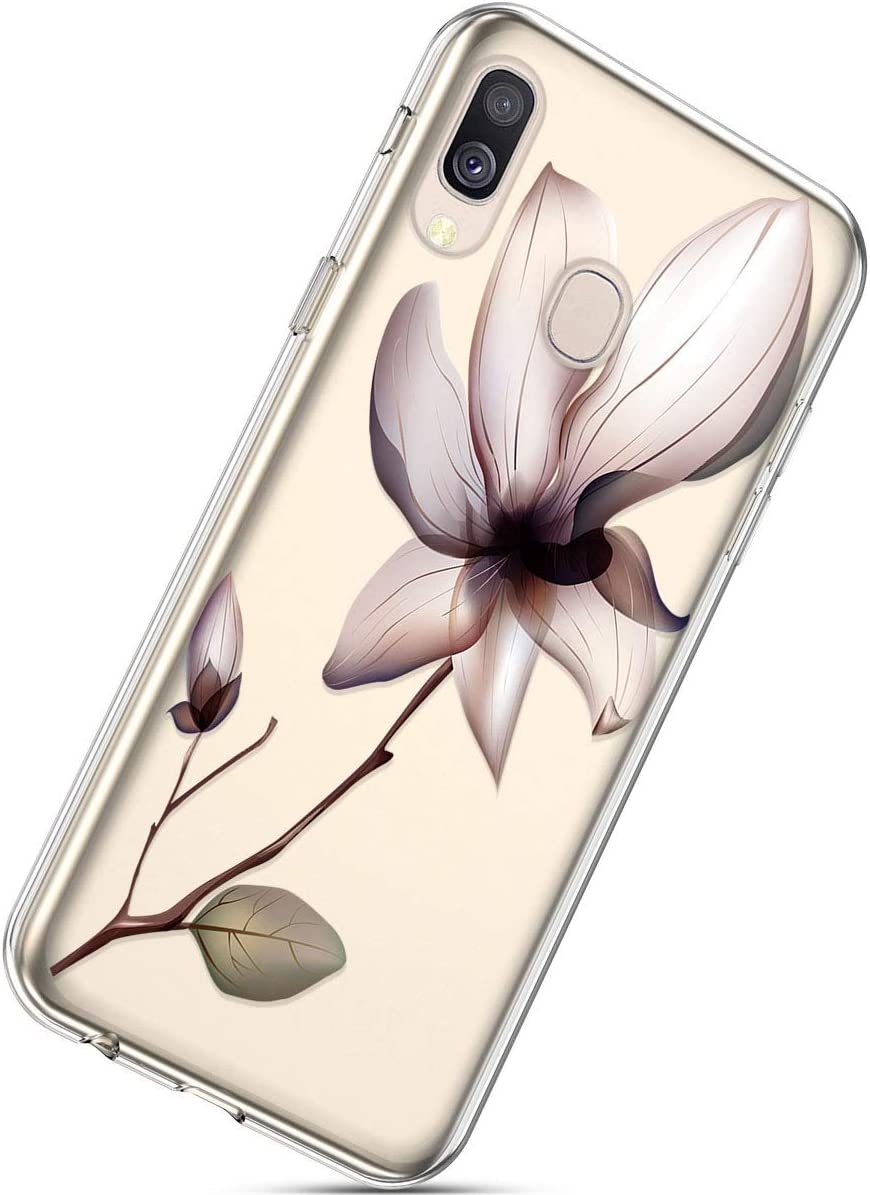 Herbests Compatible with Samsung Galaxy A40 Phone Case with Flowers Slim Shockproof Clear Floral Pattern Ultra Thin Transparent Soft Flexible TPU Back Phone Cover Woman Cat
