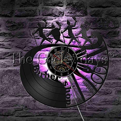 UIOLK Peluquería barbería Logo Herramienta Peine Tijeras maquinilla de Afeitar LED iluminación Decorativa salón de Belleza Reloj de Pared lámpara LED
