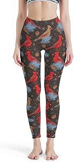 NE ZHA -Red Bird Pants Tight Ankles Women, Leggings Depot High Waisted Leggings Capri Red Sparrow Patterns Print Fashion Printed Leggings Stretchable Pants for Women